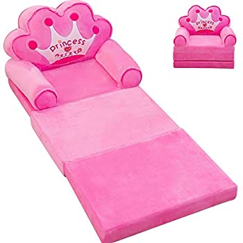 MOCOHANA Plush Foldable Kids Sofa Backrest Chair Children s Flip Open Sofa Bed Kids Upholstered Foam Chair Toddler Recliner Cute Cartoon Toddler Armchair for Living Room Bedroom 45.3  Pink