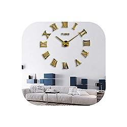Wall Clock 3D DIY Acrylic Miroir Wall Clock Stickers Watch Clocks Quartz Modern Home Decoration,Gold,37Inch
