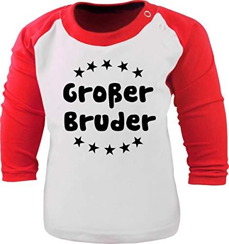 Baby/Kinder Baseball Langarm T-Shirt (Farbe: Weiss-rot) (Gr. 152/164) Großer Bruder