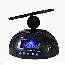 Alarm Clock CDFZS LED Display Flying Alarm Clock Digital Bedroom Backlit Lazy Propeller Big Helicopter Black