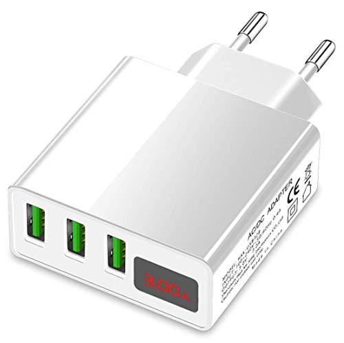Eaxus️ Fuente de alimentación USB 3A - Cargador de 3 Puertos con Pantalla LCD y función de Carga rápida, Blanco