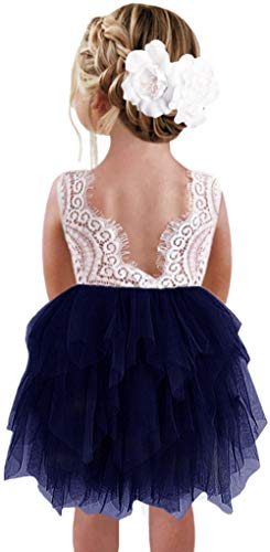 2Bunnies Girl Peony Lace Back A-Line Tiered Tutu Tulle Flower Girl Dress (Navy Sleeveless Short, 2T)