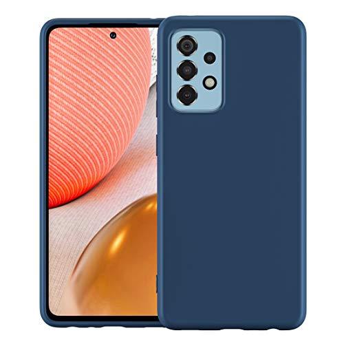 Foluu Schutzhülle für Galaxy A72, flüssiges Silikon-Gel, Gummi, mit weichem Mikrofaser-Innenfutter, dünn, stoßfest, Schutzhülle für Samsung Galaxy A72 2021 (blau)