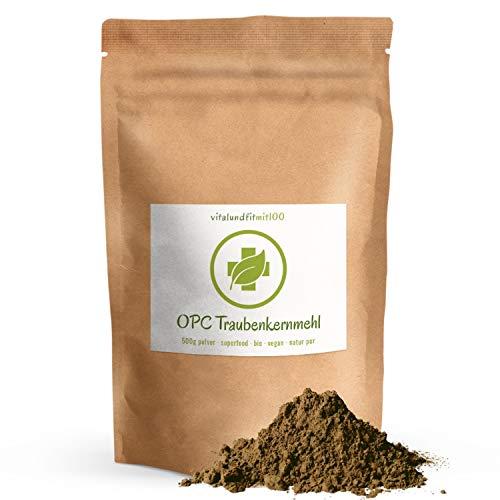 Bio OPC Traubenkernmehl - 500 g - aus spanischen Traubenkerne gewonnen - Superfood in Rohkostqualität - 100{2b207cd7a448a86f1b70ca79f747205e1656aeedc69aa849c0bfa0c8cc728181} vegan und rein - glutenfrei, laktosefrei - OHNE Hilfs- u. Zusatzstoffe