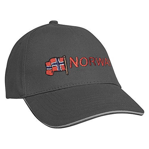 Fan-O-Menal Textilien Baseballcap mit Einstickung Norway Norwegen 68059 versch. Farben Farbe grau