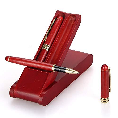 2 Pcs Best Rosewood Business Pen Gift Set with Pen Display Box and 4 Refills, 1 Gel Pen 1 Ballpoint Pen Nice Rollerball Pens for Men Women Writing Pen