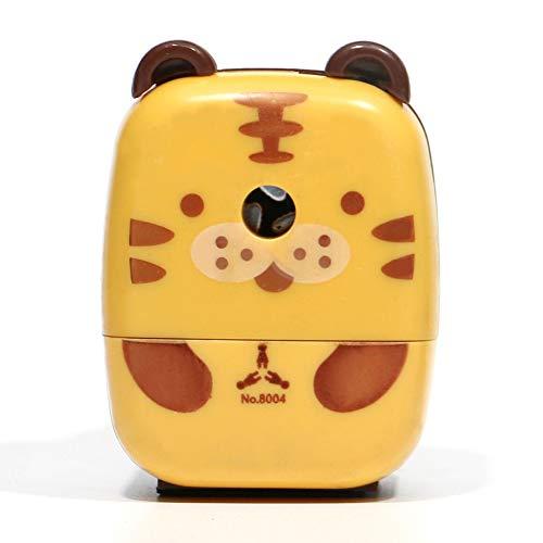 Urstory1 Sacapuntas de mano manivela antideslizante regalo ahorro de trabajo lindo escuela escritorio pequeño animal de dibujos animados niños herramienta estudiantes papelería (Tiger)