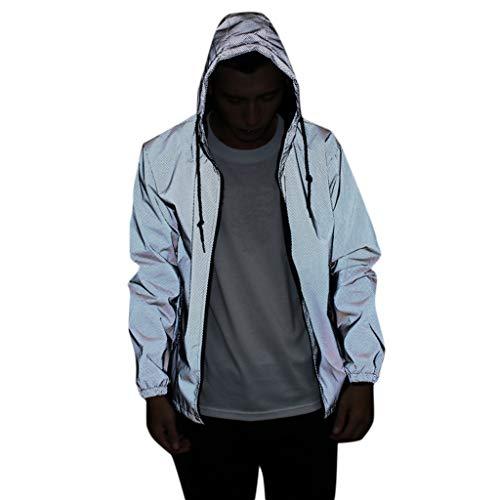 KPILP Reflektierende Unisex Jacke Winddichte Fahrradjacke für Herren Damen Langarm Sportjacke Sweatshirt Reflektierend Reißverschluss Mantel Outdoor Jacken