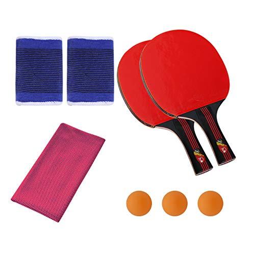 SONSYON Conjunto de Raqueta - 7-Capas de Hoja de Madera Acampanado Mango Práctica Raqueta de Tenis de Mesa,Toalla Rosa Oscuro,Raqueta(3 Bolas)+Pulsera+Toalla