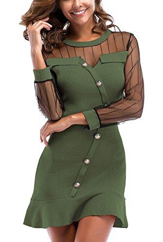 Vestido de Punto Corto para Mujer de Malla con Volantes Cuello Redondo Manga Larga Empalme Trabajo Algodón Verde M