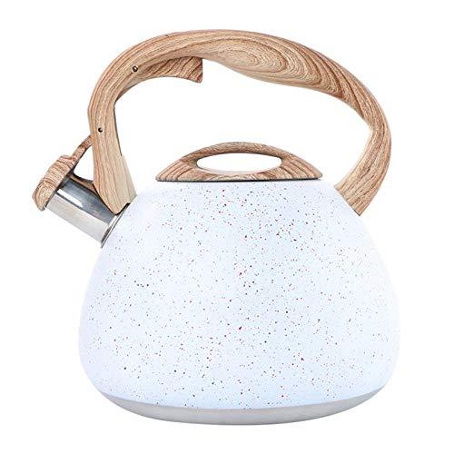 YSYSPUJ Hervidor silbido 1pc 3L Antiguo Acero Inoxidable asa de Madera Plana Blanda silbido hervidor de té hervidor de té (Color : White)
