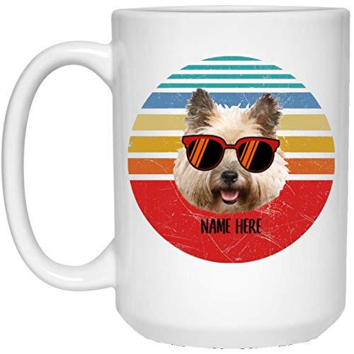 N\A Funny Cairn Terrier Crema Gafas Sunset Retro Personalizado Nombre Taza de café Blanca