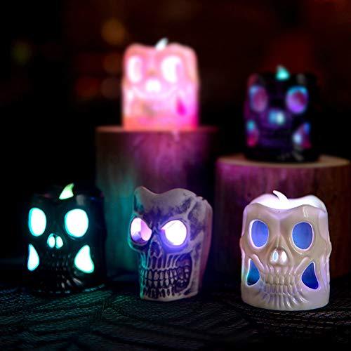 3 Velas LED Sin Fuego, Treer Luz De La Vela Del LED Luces Sin llamas Para Halloween Decoración Del Hogar Calabaza Bruja Araña Ambiente de Terror