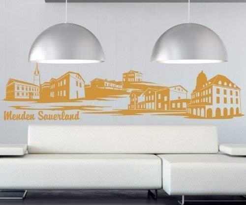 Wandtattoo Menden Sauerland Skyline XXL Aufkleber Wand Sticker Deutschland 1M188, Farbe:Silbergrau glanz;Länge des Motives:180cm