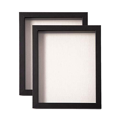 Muzilife Deep Box - Marco de fotos con alfombrilla de lino (8 x 10, 2 unidades, profundidad interior de 2,5 cm, marco de fotos 3D con panel de cristal para colgar o visualizar, color negro