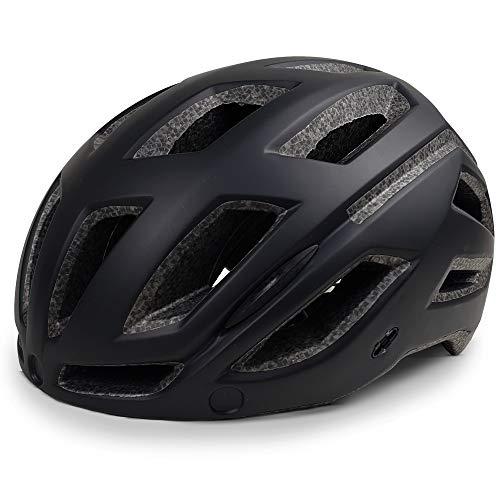 SPORT24 Lightweight Bike Cycle Helmet Road Mountain Bike Cycling Safety Helmet for Men Women with Built In Red Rear Light - Head Sizes 58-61cm Black