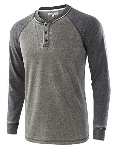 HARBETH Mens Casual Athletic Fit Soft Fleece Baseball Active Sports Sweatshirts Burnout.Army/Burnout.Gray M