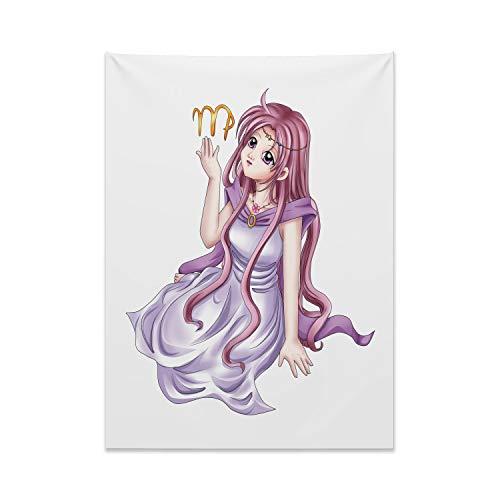 ABAKUHAUS Sternzeichen Jungfrau Wandteppich & Tagesdecke, Manga Stil Mädchen, aus Weiches Mikrofaser Stoff Kein Verblassen Klare Farben Waschbar, 110 x 150 cm, Mehrfarbig