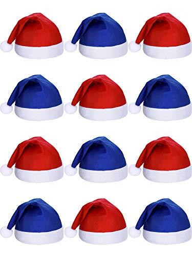 SATINIOR 12 Stück Santa Hüte Weihnachten Mütze Nicht Gewebter Stoff Hut für Urlaub Weihnachten (Blau und Rot)