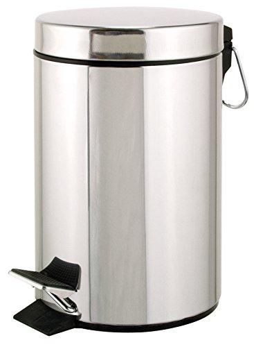 axentia Cubo en Plata, Aprox. 3L baño Cubo, Cubo de Acero Inoxidable, Cubo de Basura con Pieza de plástico, Cubo Ideal para Cocina y Baño