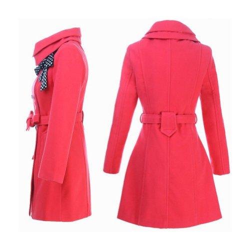 SaySure Nouvelle arrivée. Fashion Trench pour femme Lady double boutonnage Manteau d'hiver Parka (couleur : rose)