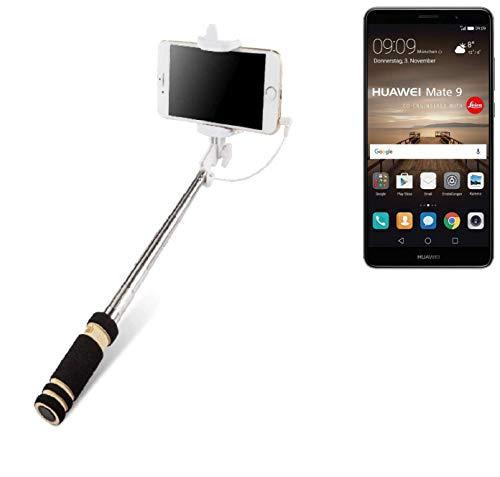 K-S-Trade Für Huawei Mate 9 (Dual-SIM) Selfie Stick Selfiestick Kabelgeb&en Monopod Mit Kabel Stab Stange Selfportrait Handheldstick Für Huawei Mate 9 (Dual-SIM) Schwarz