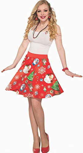 Forum Novelties 81596 Christmas Skirt-Red-Std, Multi Color, As Shown, One Size