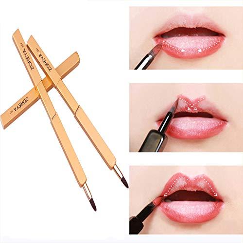 Nourich Pinceau à lèvres professionnel, pinceau à lèvres rose, outil de maquillage des lèvres rétractable, traces claires de maquillage des lèvres délicat, maquillage essentiel pour les filles (gold)
