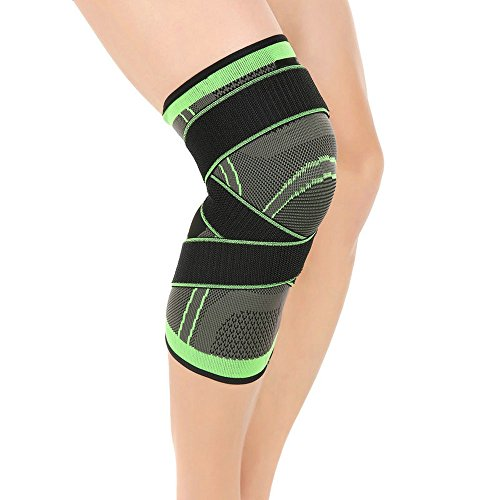 Knee Brace Support with Adjustable Compression Straps for Running ,Jogging, Cross Fit, Sports, Joint Pain Relief. Arthritis and Injury Recovery -Single Wrap (L,1pair)