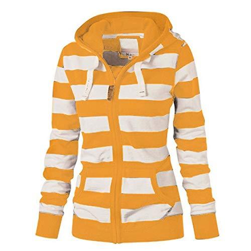 OSYARD Sweatjacke Damen Pullover Jacke Hoodie V Ausschnitt Pulli Sweatshirt Kapuzenpullover Gestreifte Print Oberteile mit Kordel und Zip