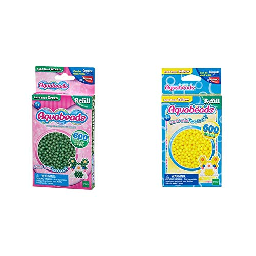 Aquabeads 32548 Perlen Bastelperlen nachfüllen grün & 32528 Perlen Bastelperlen nachfüllen gelb