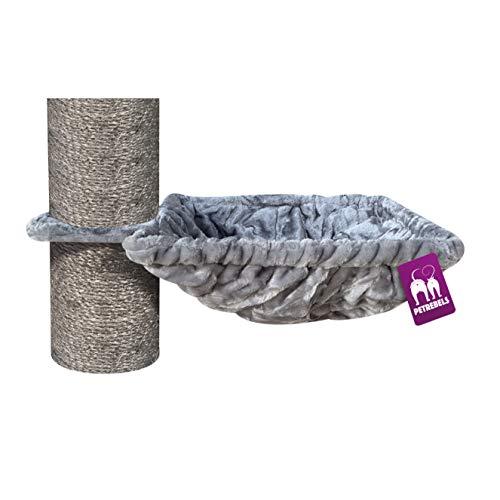 Petrebels Liegemulde XL für Kratzbaum Ø 45 cm, Quadratisch/Viereckig, Tragegewicht 25 kg, für Ø 12, Ø 15 und Ø 20 cm Stämme, Farbe Grau