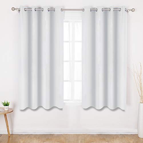 HOMEIDEAS Greyish White Blackout Curtains 52 X 63 Inch Length Set of 2 Panels Room Darkening Curtains/Drapes, Thermal Grommet Light Bolcking Window Curtains for Bedroom & Living Room