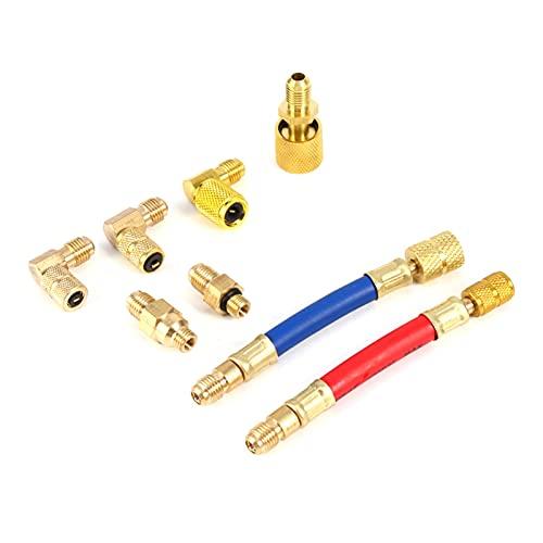 LINGLING Peter LI Multifuncional R134A R12 Coche C.A Aire Acondicionado Refrigeración Conversión Adaptador Conjunto de Conector Conjunto Material Material Material