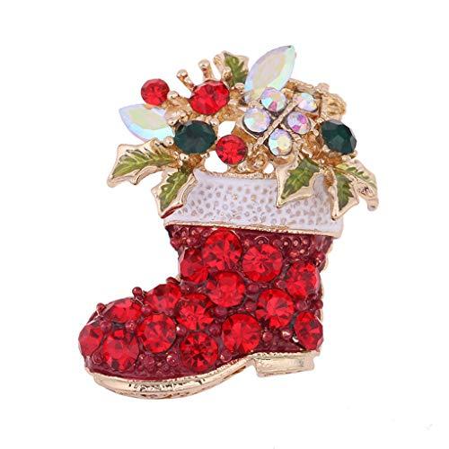 Guangcailun Weihnachten-Brosche Strass Legierung Schmuck Weihnachten Stiefel Corsage Dekoration