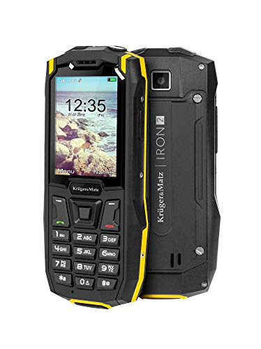 Krüger&Matz KM0459 IRON 2 - Cellulare da esterno da 6,09 cm (2,4 pollici), QVGA Dual SIM, IP68, molto robusto, 32 GB, Nero/Giallo [Versione Straniera]