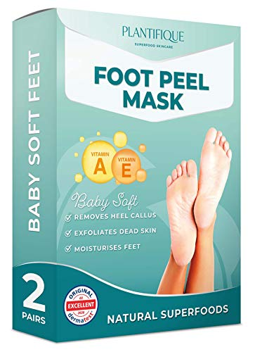 Mascarilla Exfoliante Pies de Vitaminas probada dermatológicamente - calcetines exfoliantes de pies para callos y peeling pies de Plantifique - Eficaz para callos, piel muerta y seca - 2 pares