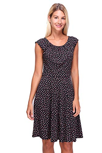 Revdelle - Robe Evasee Made in France Manches Courtes Col Arrondi pour Femme Pretty
