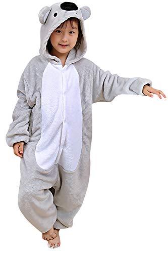 YAOMEI Kinder Unisex Jumpsuits, 2018 Kostüm Tier Onesie Nachthemd Schlafanzug Kapuzenpullover Nachtwäsche Cosplay Kigurum Fastnachtskostuem Weihnachten Halloween (130-140CM(51''-55''), Koala)