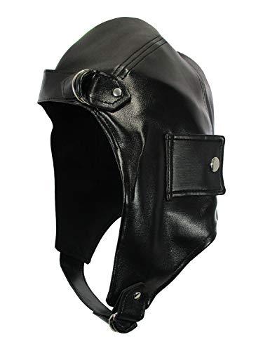 Deluxe Vinyl Vintage Bomber Pilot Aviator Helmet Flying Hat, Black,...