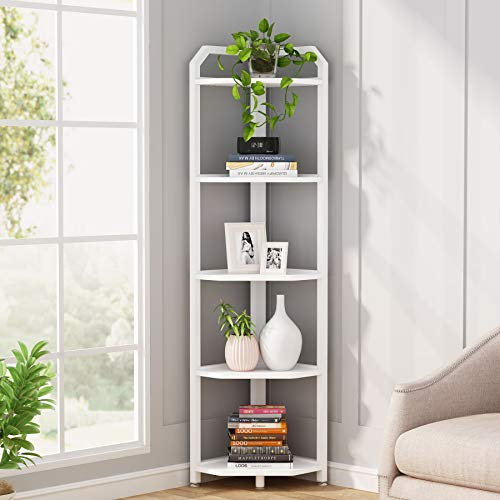 Tribesigns Corner Shelf, 5 Tier Corner Bookshelf and Bookcase Modern Corner Storage Shelving Unit Indoor Plant Stand for Living Room, Home Office, Small Space (White)