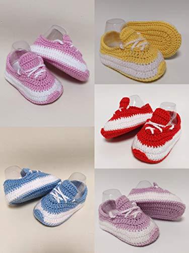 Scarpette vari colori bimbo bimba tipo sneakers. Fatte a mano ad uncinetto in lana merinos. Scarpette neonato 0-3 mesi. Idea regalo per bambini. bootie handmade