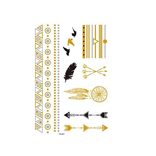 Autocollants de tatouage bronzage rétro autocollants de tatouage imperméables ensemble autocollants d'impression de couleur argent chaud-YH-061_148 * 210MM
