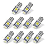 YINTATECH 10x BA9S T11 Interior White LED Light Bulbs, 53 57 182 257 1895 6253 64111 64113 1891 1445 LED Bulb for Glove Box/Ignition/License Plate Light, 5050 5-SMD