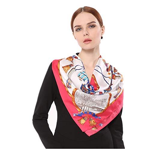 Lzcaure Bufanda de seda de sarga de seda toalla cuadrada hecha a mano bufanda Europa y América rizando bufanda de seda impresa para mujer grande (color: rosa)