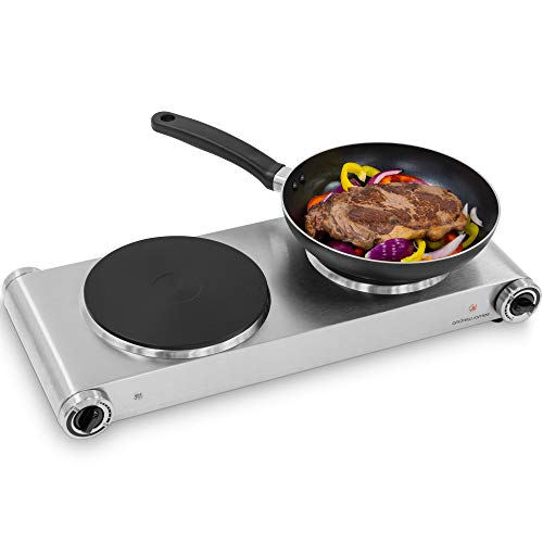 Andrew James Double Hob | Portable Electric Hot Plate | Stainless Steel Housing & Die-Cast Iron Cooking Rings | Long Power Cable & UK Plug | 1000W & 1500W Hot Plates with Variable Temperature Control