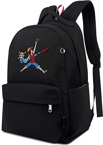 Roffatide Anime One Piece Backpack Nylon Black Book Bag Luffy Printed School Bag