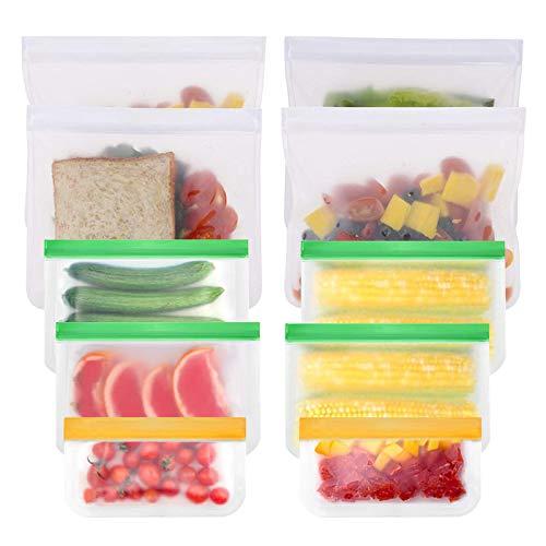 """""""Zeaye Bolsas de Silicona Reutilizables 10 Pack 3 tamaños, Bolsas Congelar Reutilizables para Almacenamiento de Alimentos, Bolsas de conservación, para Fruta Sándwiches Verduras, Sin BPA"""""""