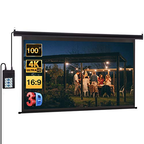"100 Inch Projector Screen,Excelvan 100"" Projector Screen Electric HD Motorized 16:9 1.2 Gain Indoor for Party/Wedding/School/Home/Meeting with Remote Control"