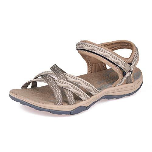 GRITION Frauen Wandern Sandalen, Damen Outdoor Sport Wasser Schuhe Sommer Flach Cross-Tied Beach Sandalen Open Toe Verstellbare Klettverschluss Walking Schuhe Schwarz (EU 38, Taupe/Stein)